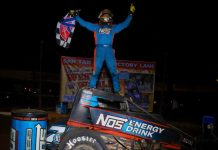 Tyler Courtney in victory lane at Arizona Speedway. (Rich Forman photo)