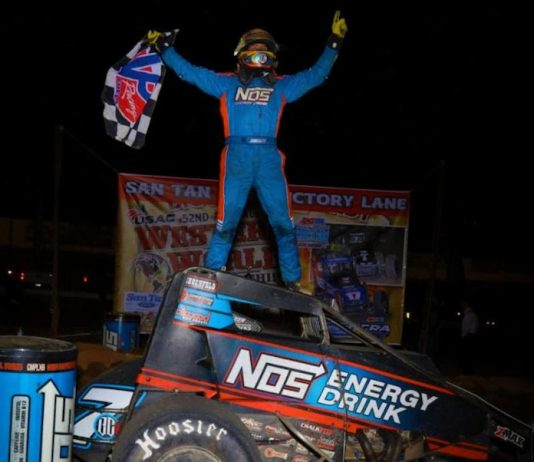Tyler Courtney in victory lane at Arizona Speedway. (Rich Forman photo)