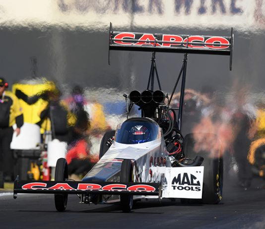 Steve Torrence raced to the No. 1 spot in NHRA Top Fuel qualifying Saturday in Pomona, Calif. (NHRA Photo)