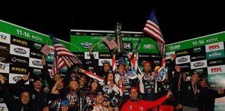 The American riders celebrate after claiming three championships during the International Six Days Enduro. (Mark Kariya Photo)