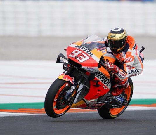 Marc Marquez on his way to victory Sunday in Spain. (Honda Photo)