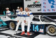 Justin Bell (left) shares victory lane with his father Derek Bell Sunday at Daytona Int'l Speedway.