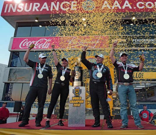 NHRA champions Andrew HInes, Erica Enders, Robert Hight and Steve Torrence. (Steve Himelstein Photo)