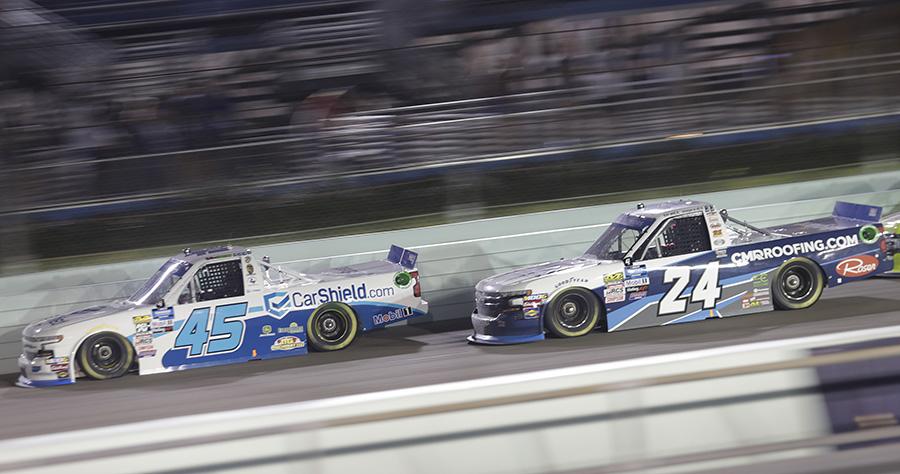 Ross Chastain (45) battles Brett Moffitt during Friday's Ford EcoBoost 200 at Homestead-Miami Speedway. (HHP/Harold Hinson Photo)
