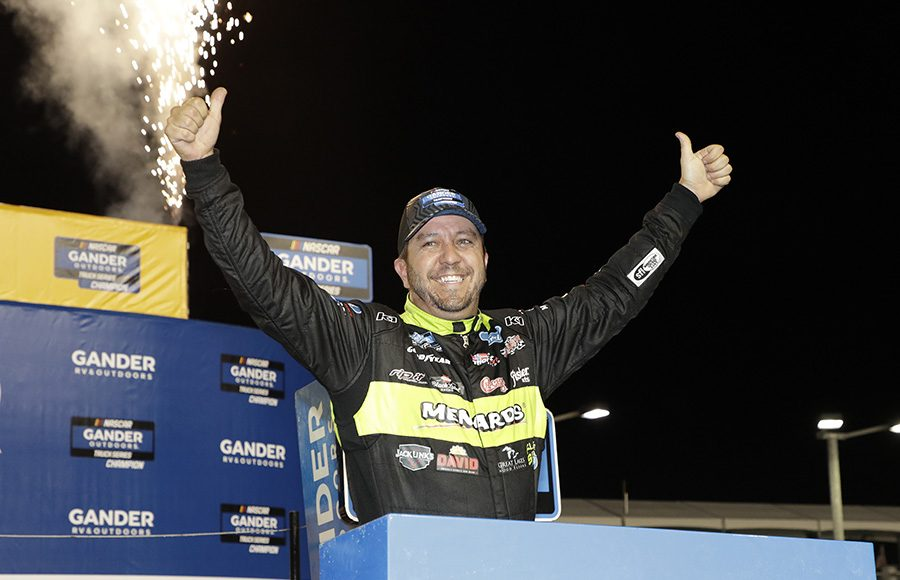 Matt Crafton celebrates after clinching his third NASCAR Gander Outdoors Truck Series championship at Homestead-Miami Speedway. (HHP/Harold Hinson Photo)