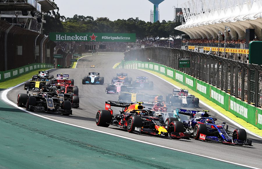 Drivers fight for position at the start of Sunday's Brazilian Grand Prix. (Red Bull Photo)