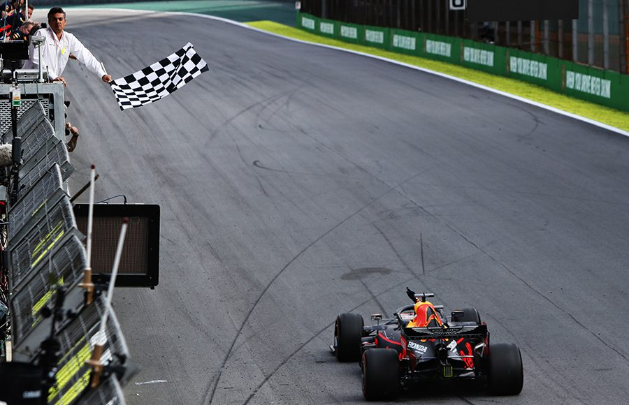 Max Verstappen crosses the finish line to win Sunday's Brazilian Grand Prix. (Red Bull Photo)