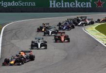 Max Verstappen (33) leads the field during Sunday's Brazilian Grand Prix. (Steve Etherington Photo)