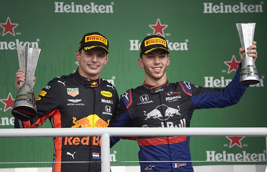 (From left) Race winner Max Verstappen and runner-up Pierre Gasly pose on the podium after Sunday's Brazilian Grand Prix. (Steve Etherington Photo)