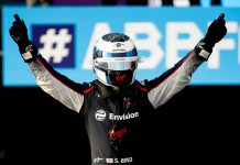 Sam Bird celebrates after winning Friday's Formula E opener at the Riyadh Street Circuit. (Formula E Photo)