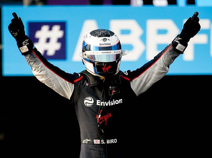 Sam Bird celebrates after winning Friday's Formula E opener at the Riyadh Street Circuit. (Formula E Photo)