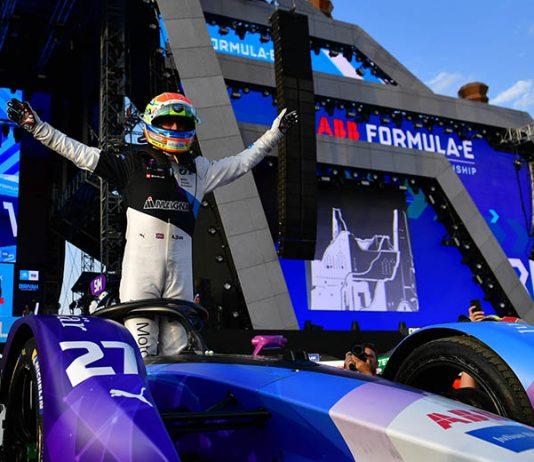 Alexander Sims celebrates after claiming his first Formula E triumph on Saturday. (Formula E Photo)