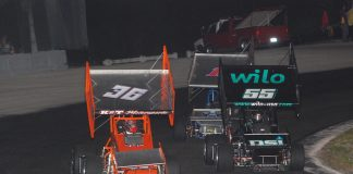 Troy DeCaire (36) won Saturday's Sprintcar Shootout feature at Southern Speedway. (David Sink photo)