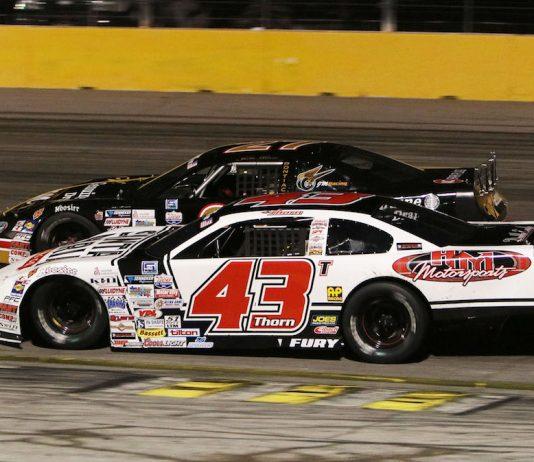 Derek Thorn (43) won Saturday's SPEARS Southwest Tour Retro Custom Metals 150 at The Bullring at Las Vegas Motor Speedway. (Barry Ambrose photo)