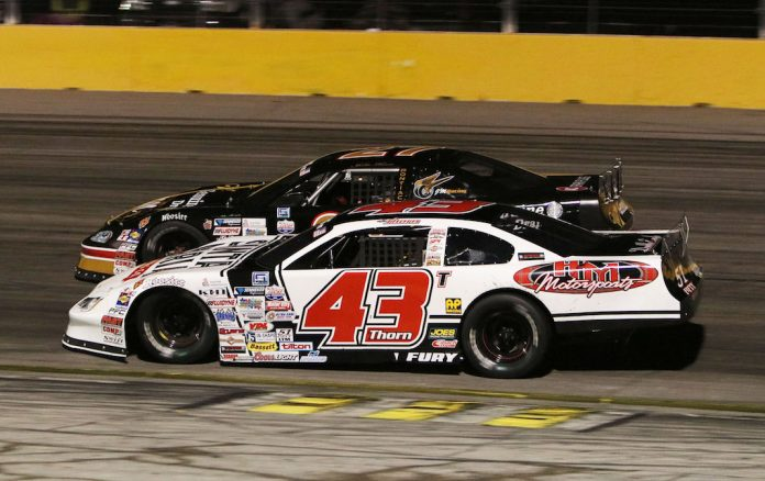 Derek Thorn (43) won Saturday's SPEARS Southwest Tour Retro Custom Metals 150 at The Bullring at Las Vegas Motor Speedway. (Barry Ambrose photo)