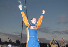 Kyle Busch celebrates one of his victories in the Snowball Derby at Five Flags Speedway. (NSSN Archives Photo)