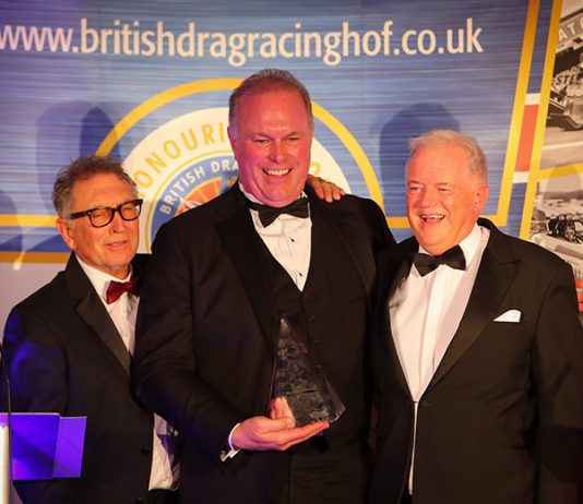 Doug Herbert (center) was recently honored by the British Drag Racing Hall of Fame.