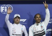 Lewis Hamilton (right) bested teammate Valtteri Bottas (left) to earn the pole for the Abu Dhabi Grand Prix. (Steve Etherington Photo)