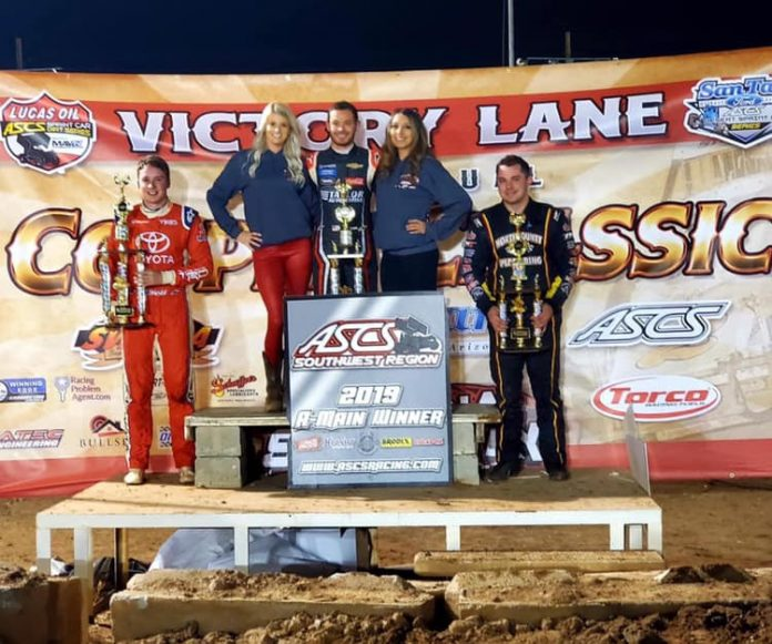 Kyle Larson shares the podium with Christopher Bell and Justin Sanders. (ASCS photo)