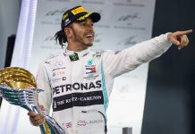 Lewis Hamilton celebrates after winning Sunday's Abu Dhabi Grand Prix. (Mercedes Photo)