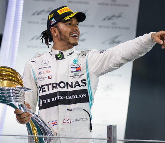 Lewis Hamilton celebrates after winning Sunday's Abu Dhabi Grand Prix. (Mercedes Photo)