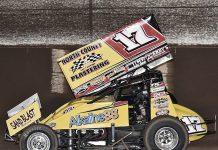 Justin Sanders on his way to victory Sunday at Arizona Speedway. (Ben Thrasher Photo)