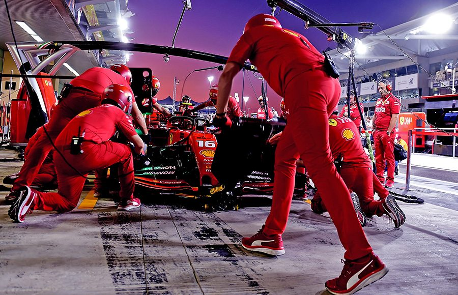 Charles Leclerc makes a pit stop during Sunday's Abu Dhabi Grand Prix. (Ferrari Photo)