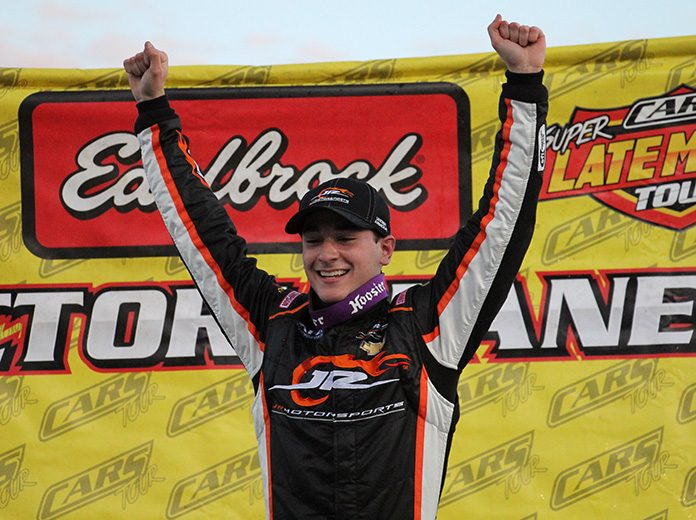 Anthony Alfredo, shown here celebrating a CARS Tour win in 2017, has joined Richard Childress Racing in the NASCAR Xfinity Series. (Adam Fenwick Photo)