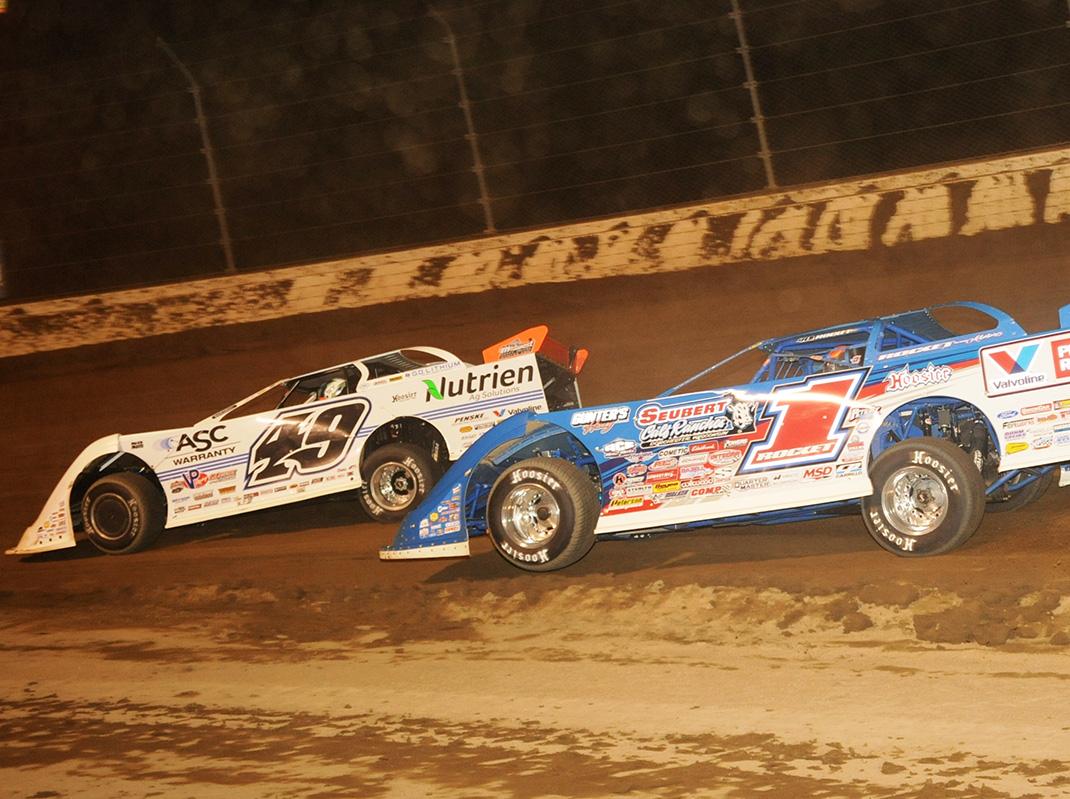 Brandon Sheppard (1) chases Jonathan Davenport during the Dirt Million at Mansfield Motor Speedway. (Julia Johnson Photo)