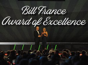 Joe Gibbs received the Bill France Award of Excellence on Thursday night at the NASCAR Cup Series Awards. (Dave Moulthrop Photo)