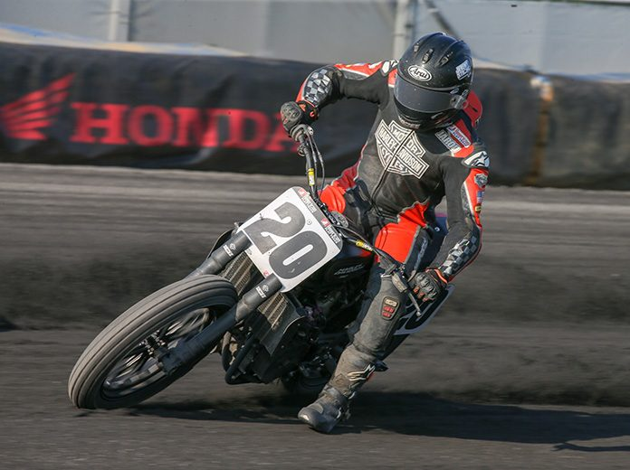 Jarod Vanderkooi (pictured) and Dalton Gauthier will lead the Harley-Davidson Factory Flat Track team in 2020. (AFT/Scott Hunter Photo)