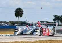 Travis Engen drove his 2005 No. 2 Audi R8 LMP to a win Friday at Sebring Int'l Raceway.