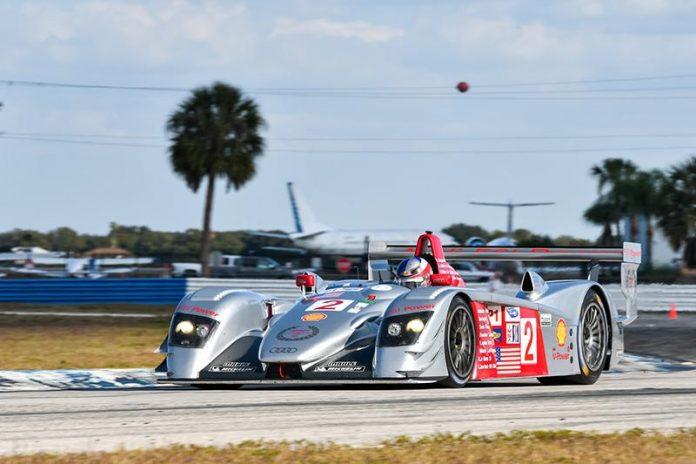 Travis Engen drove his 2005 No. 2 Audi R8 LMP to a win Friday at Sebring Int'l Raceway.