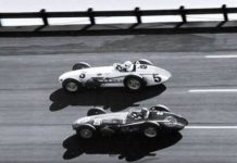 Roger Ward and Dick Rathman in their Indy cars at Daytona Int'l Speedway.