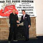 Lernerville Speedway's track owner John Tomson (left) shakes hand with Pad The Purse sponsor Phil DiLucente of Phillip P. DiLucente, Esq. Attorney at Law of Pittsburgh, Pa. (Hein Brothers Photo)