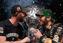Cole Pearn (left) and Martin Truex Jr. after winning the 2017 NASCAR Cup Series championship. Pearn has announced he is leaving NASCAR to pursue opportunities outside of the sport. (NASCAR Photo)