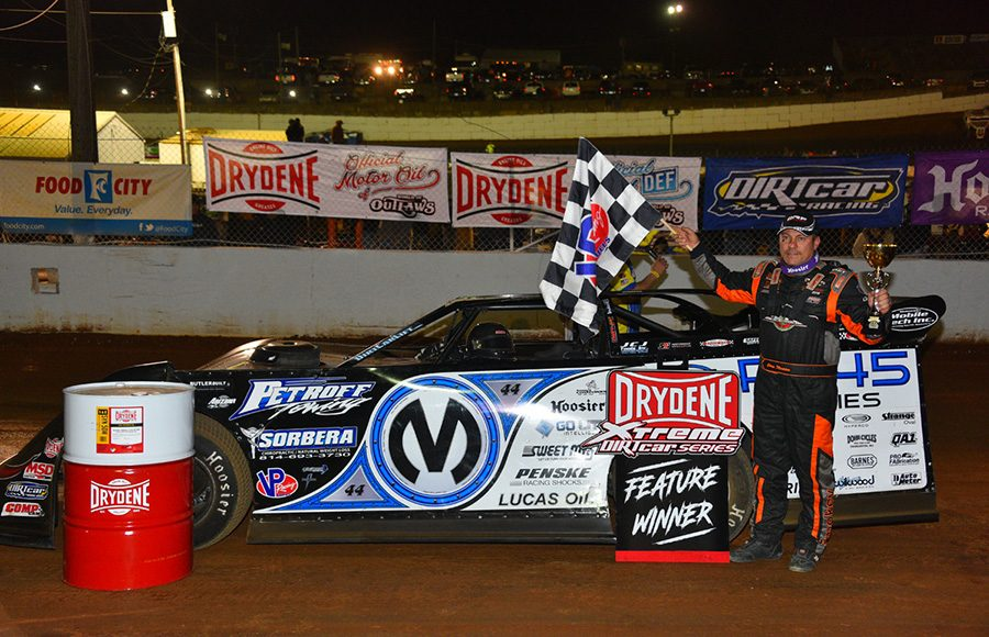 Chris Madden poses in victory lane after winning Saturday's Drydene Xtreme DIRTcar Series feature at Volunteer Speedway. (Michael Moats Photo)