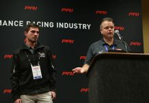 Billy Venturini (right) announces Mason Diaz as the driver of the Venturini Motorsports entry in the ARCA Menards Series East on Saturday at the PRI Trade Show. (Adam Fenwick Photo)