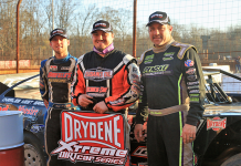 Zack Mitchell (center) bested Trent Ivey (left) and Chris Madden (right) to win Sunday's Drydene Xtreme DIRTcar Series feature at Lavonia Speedway. (Richard Barnes Photo)