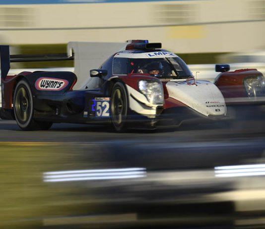 Ben Keating, in the No. 52 PR1 Mathiasen Motorsports ORECA 07 LMP2, was fastest in LMP2 garage qualifying Saturday at Daytona Int'l Speedway. (IMSA Photo)