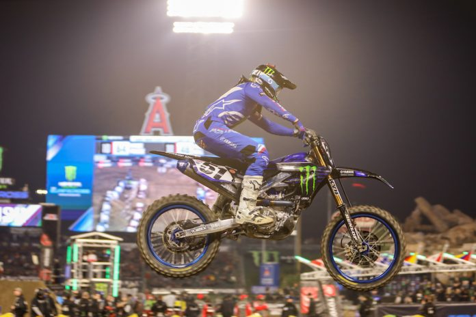 Justin Barcia en route to victory Saturday night at Angel Stadium. (Mark Munoz photo)