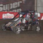 Brady Bacon (21) en route to victory Saturday at Tulsa Expo Raceway. (Richard Bales photo)