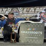 Brad May in victory lane Saturday at New Smyrna Speedway. (NASCAR Photo)