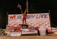 Cade Dillard won his first World of Outlaws Late Model Series feature Sunday at Vado Speedway Park. (Adam Mollenkopf photo)