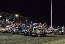 The World of Outlaws NOS Energy Drink Sprint Car Series, shown here at Calistoga Speedway, will return to Merced Speedway early this year. (Saroyan Humphrey Photo)