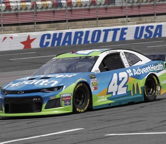 Kyle Larson will carry sponsorship from AdventHealth in two NASCAR Cup Series races this year. (HHP/Harold Hinson Photo)