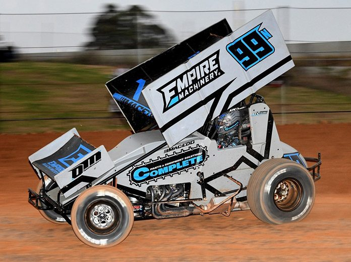 Carson Macedo raced to victory in Saturday's sprint car feature at Valvoline Raceway. (Valvoline Raceway Photo)