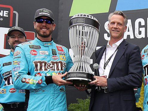 NASCAR President Steve Phelps (right) with Kyle Busch. (NASCAR Photo)