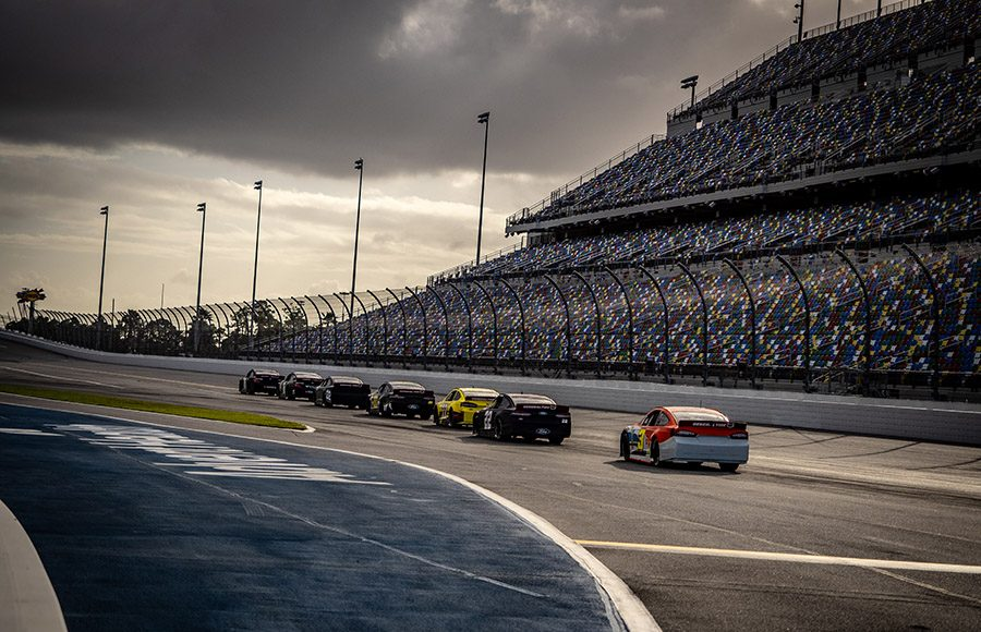 Cars line up to go on track during the ARCA Menards Series test at Daytona Int'l Speedway. (Jason Reasin Photo)