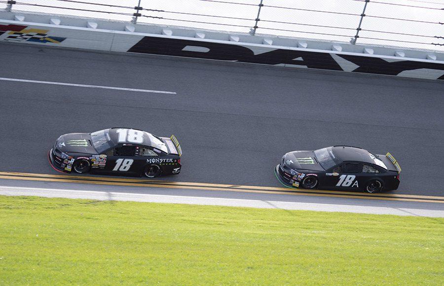 A pair of Joe Gibbs Racing Toyotas draft during the ARCA Menards Series test at Daytona Int'l Speedway. (Jason Reasin Photo)
